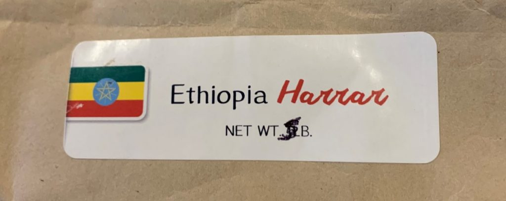 Ethiopia Harrar coffee label