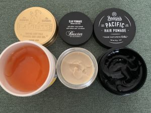 Pomade selection with open lids
