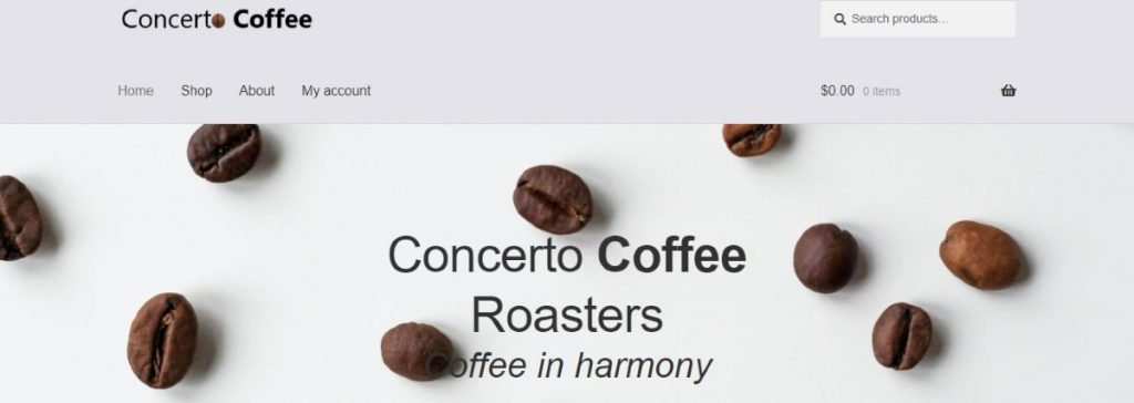 Concerto Coffee Roasters website screenshot